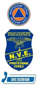 Logo Agenzia Protezione Civile Regione Lazio + Logo N.V.E. + telefono 3477520130
